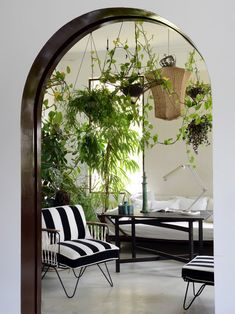 Tour furniture company owner Annick Lestrohan's picturesque apartment in the South of France, complete with hundreds of plants and a zellige fireplace. Stonehenge, Spanish Villas, Indoor Greenhouse, Indoor Garden, Garden Plants, Palazzo Style, Backyard Picnic, Smart Tiles, South Of Spain