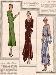 This 1930 issue of McCall's Magazine shows the latest styles from Paris. There are Smart Skirt Lengths and New Slender Hiplines. These were...
