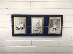 Blue and Gold picture triple frame holds photos.