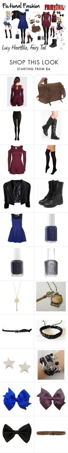 """""""Lucy Heartfilia, Fairy Tail"""" by fictional-fashion ❤ liked on Polyvore featuring Boohoo, Rothco, SELECTED, K. Bell, yeswalker, Molly Bracken, Essie, Michael Kors, My Little Thing and Daisy Knights"""