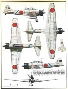 """Mitsubishi A6M2 """"Zero-Sen"""", early war version (1942-1943) with long wings and short cannon in wings."""