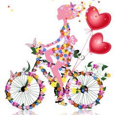 San Valentín chica floral, imagen vectorial.