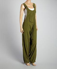 Love this Khaki Harem Overalls - Women by Coline USA on #zulily! #zulilyfinds
