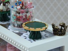 Handmade Hunter Green Pedestal Cake Stand with by JansPetitPantry