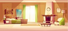 bedroom living cartoon bed modern cozy illustration background vector interior anime fireplace double armchair furniture boy aesthetic scenery quarto door