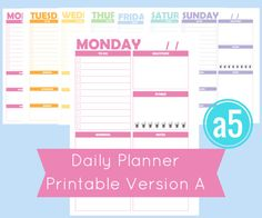 Printable a5 Daily Planner Pages for your filofax or discbound planner.  Why I Love It -------------------------------------------------------------------------------------------------------- I love how colorful these daily planners are. Each day has its own color- Sunday is pink, Tuesday is orange, etc. Each day gives you the following sections: To Do checklist, Gratitude to reflect on your day, Fitness with 8 Water Cups to check off as you drink, notes, and a morning, afternoon, and…
