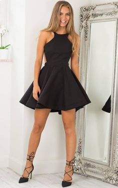 Women's fashion | Open back peplum skater dress