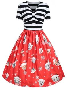 plus size christmas costumes Plus Size Striped Panel Christmas Dress , Floral Dress Outfits, Red Floral Dress, Plus Size Vintage Dresses, Plus Size Dresses, Dress Vintage, Audrey Hepburn, Christmas Dress Women, Womens Christmas, Big Size Dress