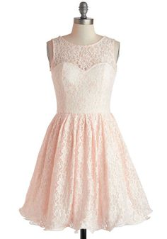 Cherished Celebration Dress - Mid-length, Pink, White, Backless, Bows, Lace, Party, Fit & Flare, Sleeveless, Prom, Fairytale, Pastel, Spring, Bridesmaid