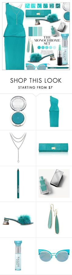 """Monochrome * Turquoise Outfit"" by calamity-jane-always ❤ liked on Polyvore featuring Clinique, Roland Mouret, David Yurman, Inge Christopher, Maybelline, Burberry, Miu Miu, Ippolita, Bulgari and Fendi"