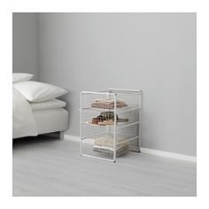 IKEA - ANTONIUS, Frame and wire baskets, A flexible system with many possible combinations; choose a combination that fits the space available and meets your storage needs.Can be stacked: clips included.Also stands steady on an uneven floor since the feet can be adjusted.
