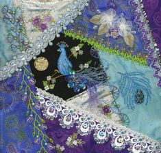 crazy quilting by Pamela Kellogg...adore the embellishments, as well