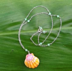 Sterling silver sunrise shell necklace with by MermaidLoveTreasure, $115.00