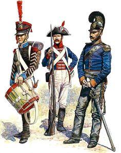 """Grand Duchy of Berg & Westfalia""   • Grenadier Drummer, 2nd Infantry Regiment, Grand Duchy of Berg, 1807  • Private, 1st Westfalian Infantry Regiment, 1807  • Officer, 2nd Westfalian Kürassiers, 1808"