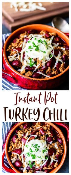 Instant Pot Turkey Chili - an easy-to-make, mild, family-friendly recipe. It's a healthy comfort food that you can easily modify to suit your own tastes with plenty of options for different toppings, mix-ins and side dishes included. This recipe is low carb and gluten free. | #chili #turkeychili #instantpot #instantpotchili #chilirecipes
