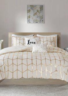 White And Gold Bedding, Gold Comforter Set, King Comforter Sets, Bedding Sets, Crib Bedding, Intelligent Design, Gold Bedroom, Bedroom Sets, Fancy Bedroom