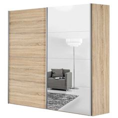 Selma - Sliding Wardrobe (Oak & Mirror)   Wardrobes   Bedroom