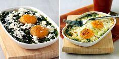 Huevos al horno con espinacas y queso feta