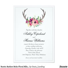Rustic Antlers Boho Floral Allure Wedding Card - With enchanting rustic boho style, this wedding invitation design features deer horns beautifully embellished with watercolor florals in rich purple, magenta and pink hues. A thin silver lined border completes the design. Sold at Oasis_Landing on Zazzle. #wedding #invitations