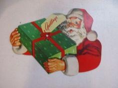 Lot-of-3-Vintage-Christmas-Cardboard-Cut-out-Decorations-Santa-Claus-Snowman