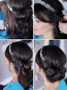 Hair Tutorial - I got more complements with this style than any other I have done.  I used a headband that matched my hair and it seemed to disappear.  Stayed in even during my bike commute.