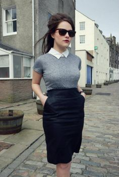 Leather high waisted pencil skirt.gray sweater, white collar, loose hair