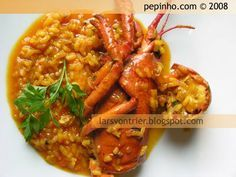 Arroz con bogavante (caldoso) Rice Alternatives, Kitchen Dishes, Chana Masala, Thai Red Curry, Risotto, Shrimp, Food And Drink, Cooking, Healthy