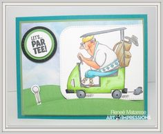 Art Impressions Rubber Stamps: Ai Work and Play: 4902 – Par-Tee Golfers Set. Handmade masculine golf sports card.  Let's Par Tee!