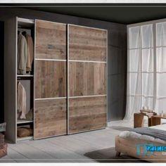 Mob0050 Armadio scorrevole in legno grezzo – Armadio Guardaroba ideale per…