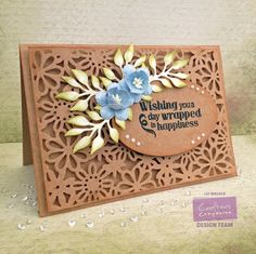 Card made using Crafter's Companion Dies'ire Oval die, Die'sire Wild Flower Trio - Kraft Card, Collall 3D glue, Die'sire Create-a-Card - Daisy Dreams -  Collall Tacky Glue, Sentimentals - Friends and family stamp set. Made by Liz Walker #crafterscompanion