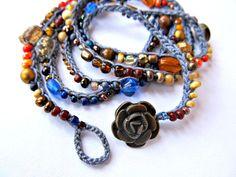 Crochet beaded necklace wrap bracelet spice boho by CoffyCrochet SOLD
