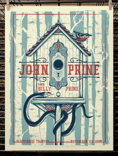 Screen printed gig poster for John Prine by Half Hazard Press