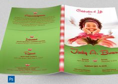 Child Funeral Program Photoshop Template is for children memorial or funeral services. The vibrant colors and flowers combined with decorative text lends itself to this occasion and will bring memories of happy days. Great for other occasions like birthday parties, weddings, anniversaries, baby sho
