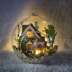DIY-Wooden-Dollhouse-Miniature-Kit-w-LED-and-Voice-control-Forest-house