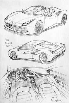 Car drawing 160127.  2016 Ferrari 488 GBT.  Prisma on paper.  Kim.J.H
