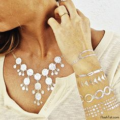 Flash Tattoos Lena Authentic Metallic Temporary Jewelry Tattoos 4 Sheet Pack Metallic Goldsilver Includes over 50 assorted premium modern waterproof tattoos * Read more reviews of the product by visiting the link on the image.(It is Amazon affiliate link) #denver