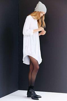 Shop this look on Lookastic:  http://lookastic.com/women/looks/beanie-shirtdress-tights-socks-ankle-boots/10601  — Grey Beanie  — White Shirtdress  — Black Tights  — Black Socks  — Black Leather Ankle Boots