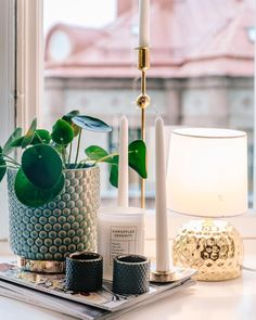 Beautiful and modern window sill decor with candles and plants Room Inspiration, Interior Inspiration, Window Sill Decor, Beautiful Interior Design, House Doctor, Plywood Furniture, Decoration, Interior Styling, Interior And Exterior
