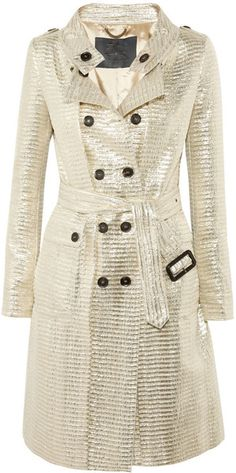 BURBERRY Metallic Jacquard Trench Coat - Lyst