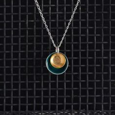 Large Enamel Pendant in Teal & Gold, Honeybourne Jewellery Necklaces