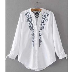 2017 Fashion Women Embroidery Blouse Shirt V Neck Lace Up Cuffs Curved Hem Ladies White Shirts blusas mujer White Embroidery, Embroidery Dress, Top Chic, White Shirts Women, Fancy Tops, Embroidery Fashion, Blouse Online, Embroidered Blouse, Blouse Designs