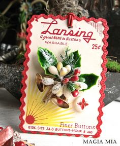 Vintage Button Card Ornament