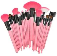 24 pcs makeup brush set provides professional and beautiful result for affordable price. It is made of high quality Synthetic hair fiber. The bristles of the brushes are well made, very soft and will