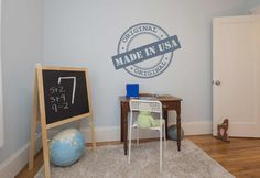 Made in The USA Stamp Wall Decal Wall Stickers, Wall Decals, Kids Wall Decor, Stamp, The Originals, Usa, Storage, How To Make, Furniture
