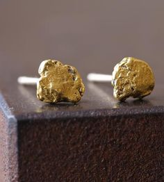 Raw Gold Nugget Earrings by Alexis Russell on Scoutmob Shoppe