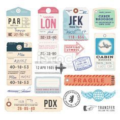 Vintage Luggage Tags and Stamps Royalty Free Stock Vector Art Illustration