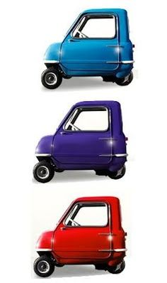 The world's most miniscule cars, the Peel P50 and the Peel Trident. A 3.35 horsepower engine, capable of a speedy 28mph. Neither have been manufactured since 1966.  The slightly bigger Trident can fit two, not very big people, and the P50, only one.