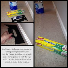 This is a time saver when painting trim or walls in rooms with carpet! Press n Seal instead of painters tape and plastic drop cloth! Stays in place but doesnt leave a sticky residue! This is the easiest, cheapest, and quickest solution! House Painting, Diy Painting, Painting Hacks, Painting Trim Tips, Painting Wood Trim, Painting Paneling, Home Improvement Projects, Home Projects, Home Renovation
