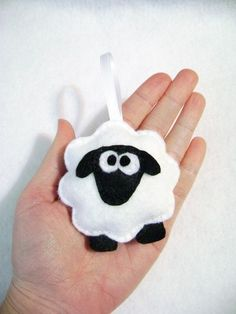 Felt Holiday Ornament Sherman the Sheep Black by RedMarionette, $9.50