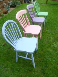 4 x Vintage Shabby Chic Wooden Chairs in Annie Sloan Bespoke Colours *COLLECTION ONLY* by SunflowerLou on Etsy